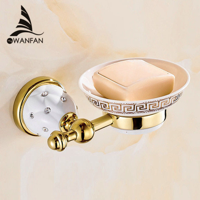 Soap Dishes Gold Finish Brass Soap Basket Wall Mounted Soap Dish Bathroom Accessories Bathroom Furniture Toilet Soap Holder 5205