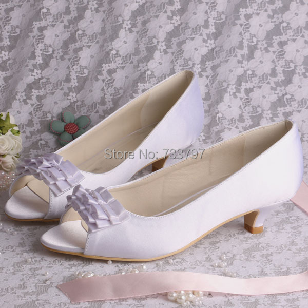 Wedopus Bridal Shoes Satin Wedding Shoes Bridesmaid Shoes Low Heel Custom Heel Height