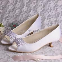 Wedopus Свадебная Обувь Атласные Свадебные Туфли Невесты Обувь Низкий Каблук Высота Обычай Пятки