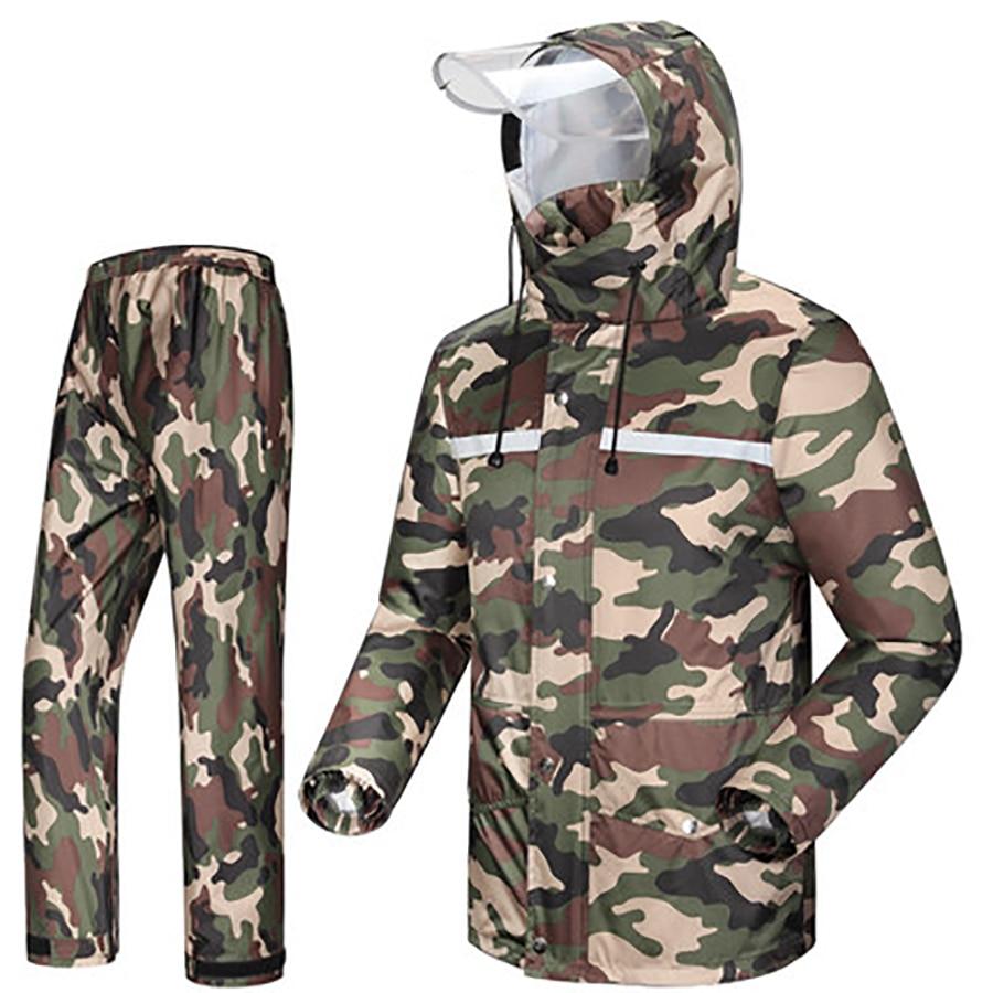 Camouflage Hiking Motorcycle Raincoat Mens Rain Jacket Outdoor Waterproof Rain Coat Suit Casaco Masculino Regenjas R5C145