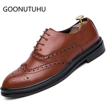 Fashion men's shoes casual leather male classic brown and black lace up shoe man comfortable party brogue shoes for men hot sale mycolen new fashion mens office lace up classic leather shoes men s casual party driving man vintage carved brogue flats