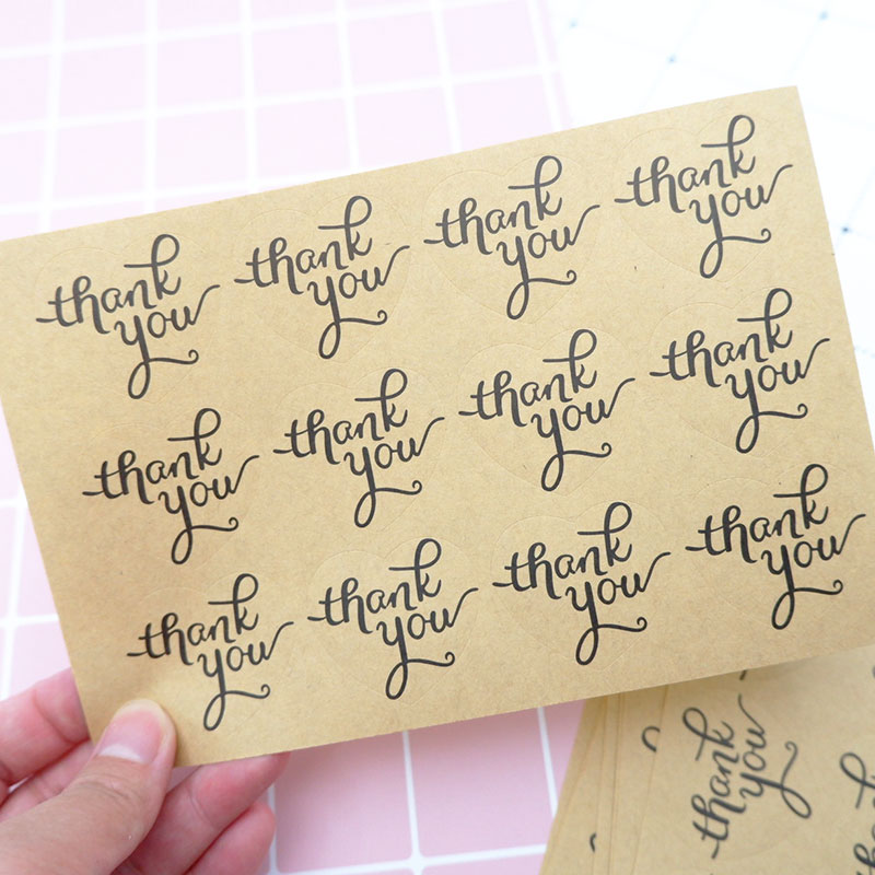 60pclot Vintage Kraft paper thank you english blessing sticker diy Handmade baking Gift Snack bag Christmas decoration stickers