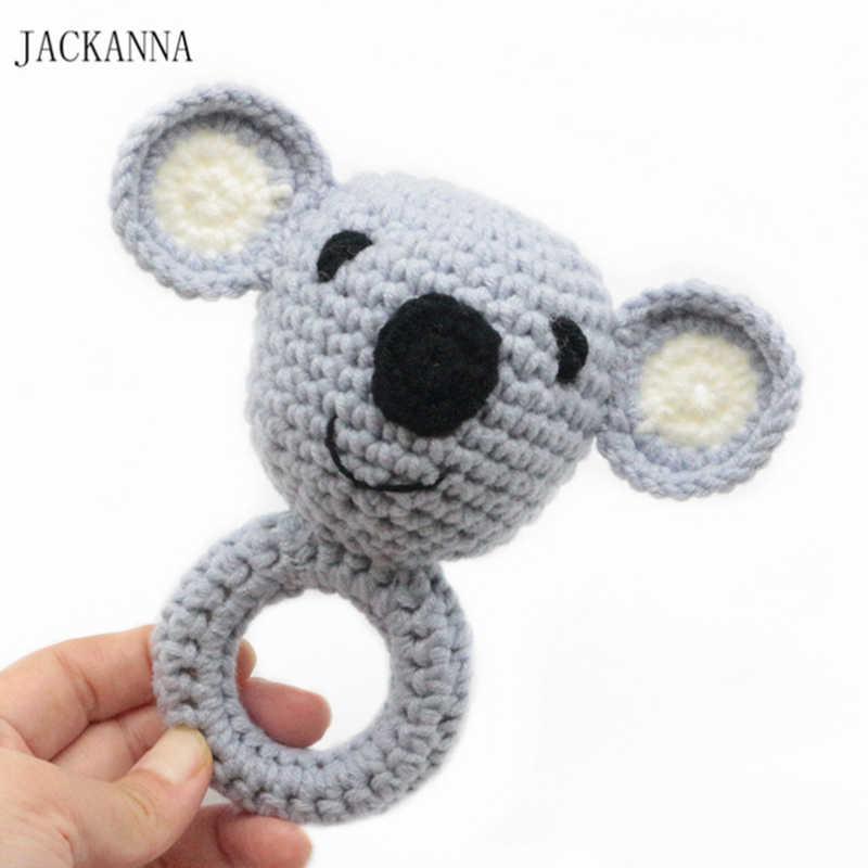 Koala детский Прорезыватель крючком с узором погремушка колокольчик игрушки амигуруми деревянная игрушка в виде животного кольцо детский Прорезыватель детская игрушка Душ Подарки
