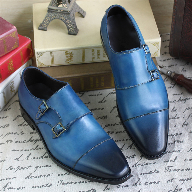 Bespoke Goodyear Welted Blue Genuine Leather Double Buckles Monk - Zapatos de hombre - foto 4