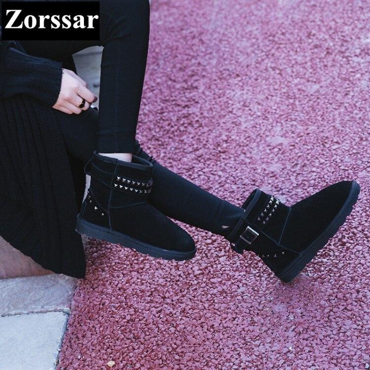 Ante Planos 2017 Botas Moda Zapatos Mujer Vaca Tobillo Tacón De Invierno Caliente Nuevo Negro marrón Remaches Plano {zorssar} Nieve x6YfdqwA6
