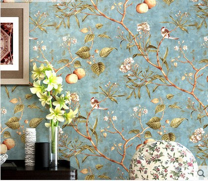 10m 53cm Home Decor Classic American New Wallpaper Tree Flower Bird Pattern Sitting Room Bedroom Rural Tv Background Pure Paper