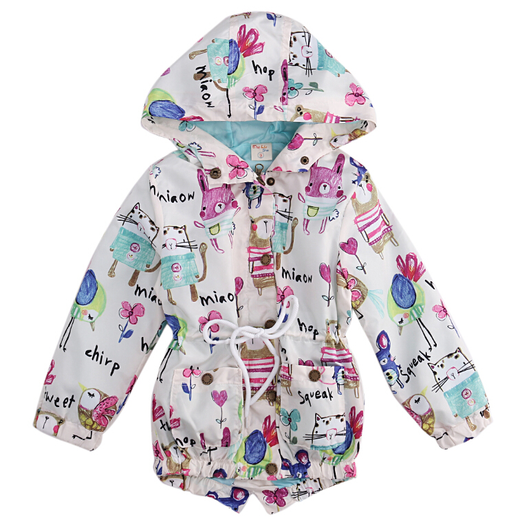 336726d28 Animals Print Jacket Coat Hooded Spring Fall Girl Outerwear 2016 K...