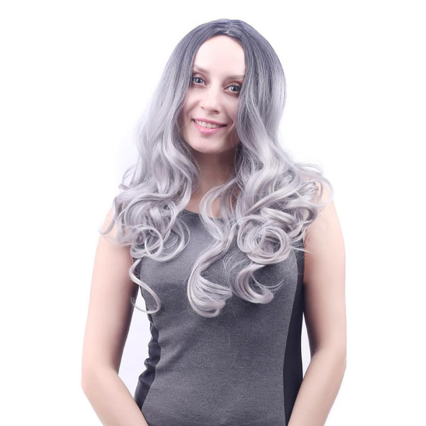 Women Fashion Lady Middle Part Big Wave Granny Gray Wig Curly Hair Full Wig 0629