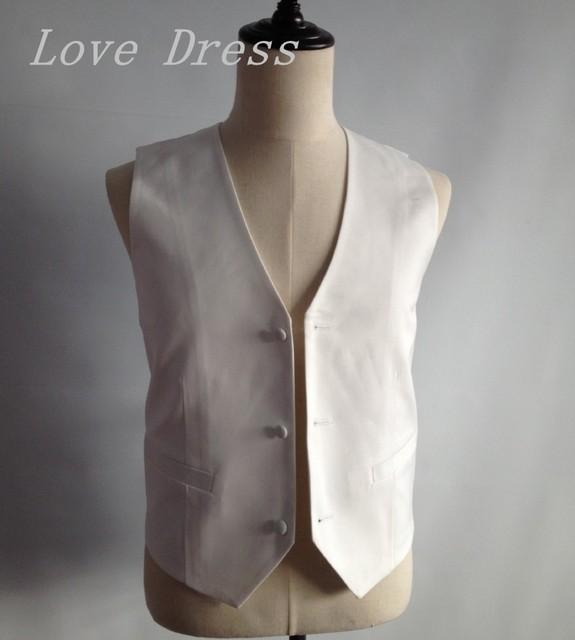 White Satin New Design Vest Man Suits Three Button Groomsman Tuxedos Men Wedding Vest
