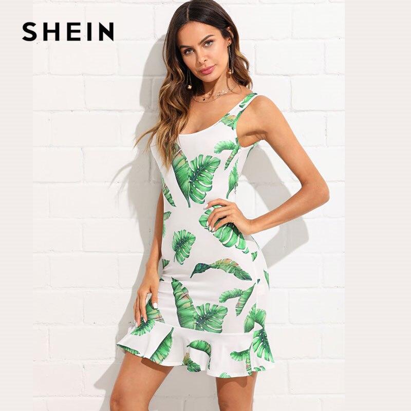 SHEIN Summer Dress Tropical Print Open Back Ruffle Hem Elegant Going Out Dress Sleeveless O-neck Multicolor Slim Short Dress