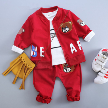 Anlencool 2019 Baby Boy Clothes  Autumn Baby Clothing Sets Litter Bear Embroidery Jackets+T-shirt+Bear Print Pants 3Pcs Suits