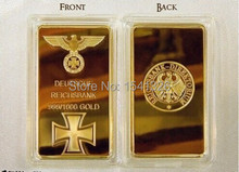LINGOTE ALEMANIA GERMANY WAR WORLD BULLION 24K GOLD LAYERED BAR,100pcs/lot DHL free shipping