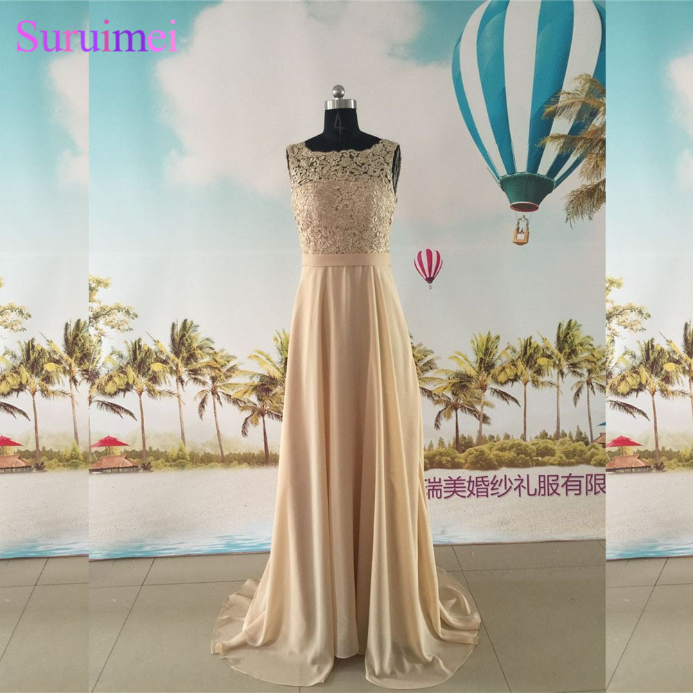 Champagne   Bridesmaid     Dresses   Chiffon Floor Length High Neck With Spaghetti Straps Backless Brides Maid   Dress