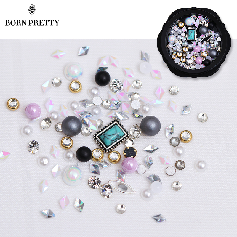 1 Box Mix Pearl 3D Nail Decoration Acrylic Alloy Metal Rhinestone Tips DIY Accessoires Manicure Nail Art Decoration caviar beads nail decoration micro pearl ball round mix colorful rhinestone manicure 3d nail art decorations glitters diy