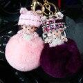 Lindo llevaba sombrero muñeca Monchichi llavero Rhinestone sleutelhanger llavero bola de pelo de conejo pom pom mujeres accesorios