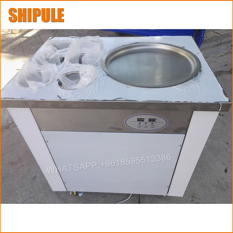 Free shipping hot sale 740w flat pan fried ice cream machine SINGLE POT Stainless steel Ice Pan Machine roll ice cream maker  цена и фото