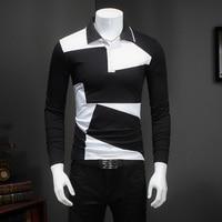 Spring New Men T Shirt Long Sleeve Slim Fit 2017 T Shirt Mens Patchwork Color Polka