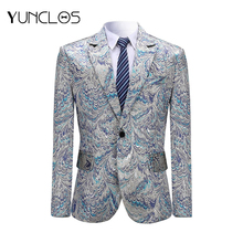 YUNCLOS, синий, на одной пуговице, Мужской Блейзер, благородный, с рисунком павлина, пиджак, вечерние, для свадьбы, певец, для сцены, пиджак, пиджак, XS-3XL
