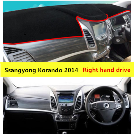 TAIJS right hand drive car dashboard protective cover for Ssangyong Korando 2014 Polyester Fiber dashboard pad mat for Korando image