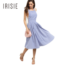IRISIE Apparel Stripe Sweet Women Dress Vestidos Sexy Sleeveless Backless Navy Style Dresses Cross Back Casual Slim Mini Dresses