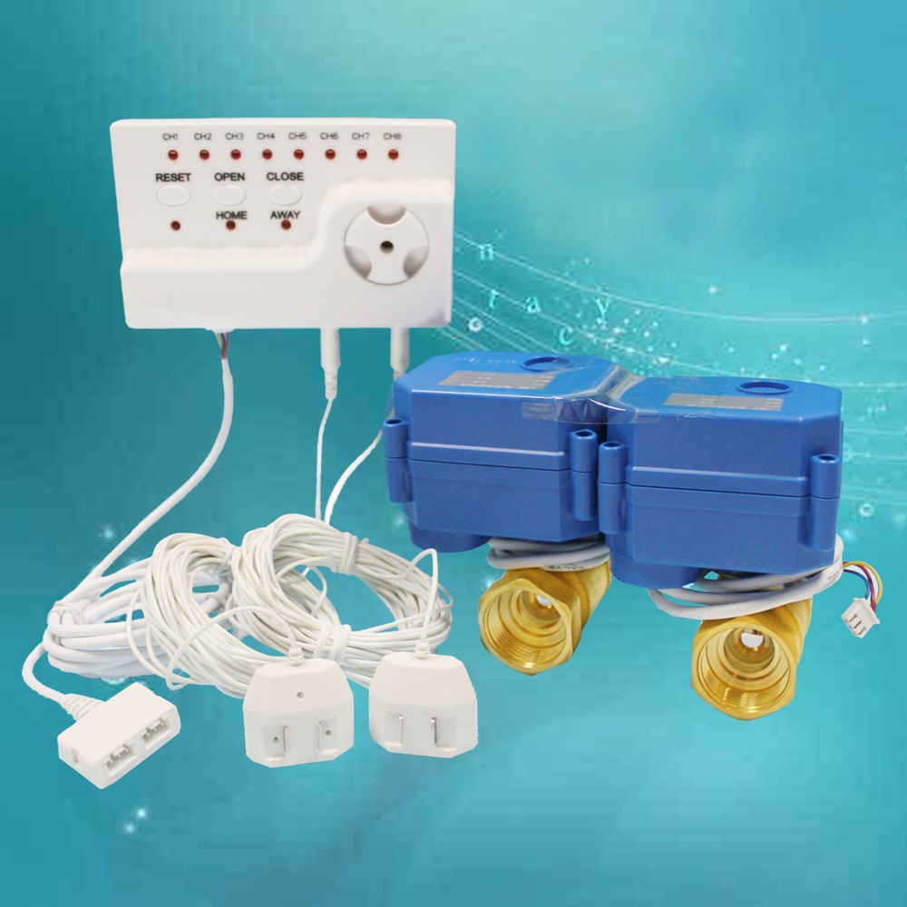 Russia Use Automatic Water Leak Alarm Sensor System with Two 1 Motorized Ball Valve and 8pcs Sensor Cables