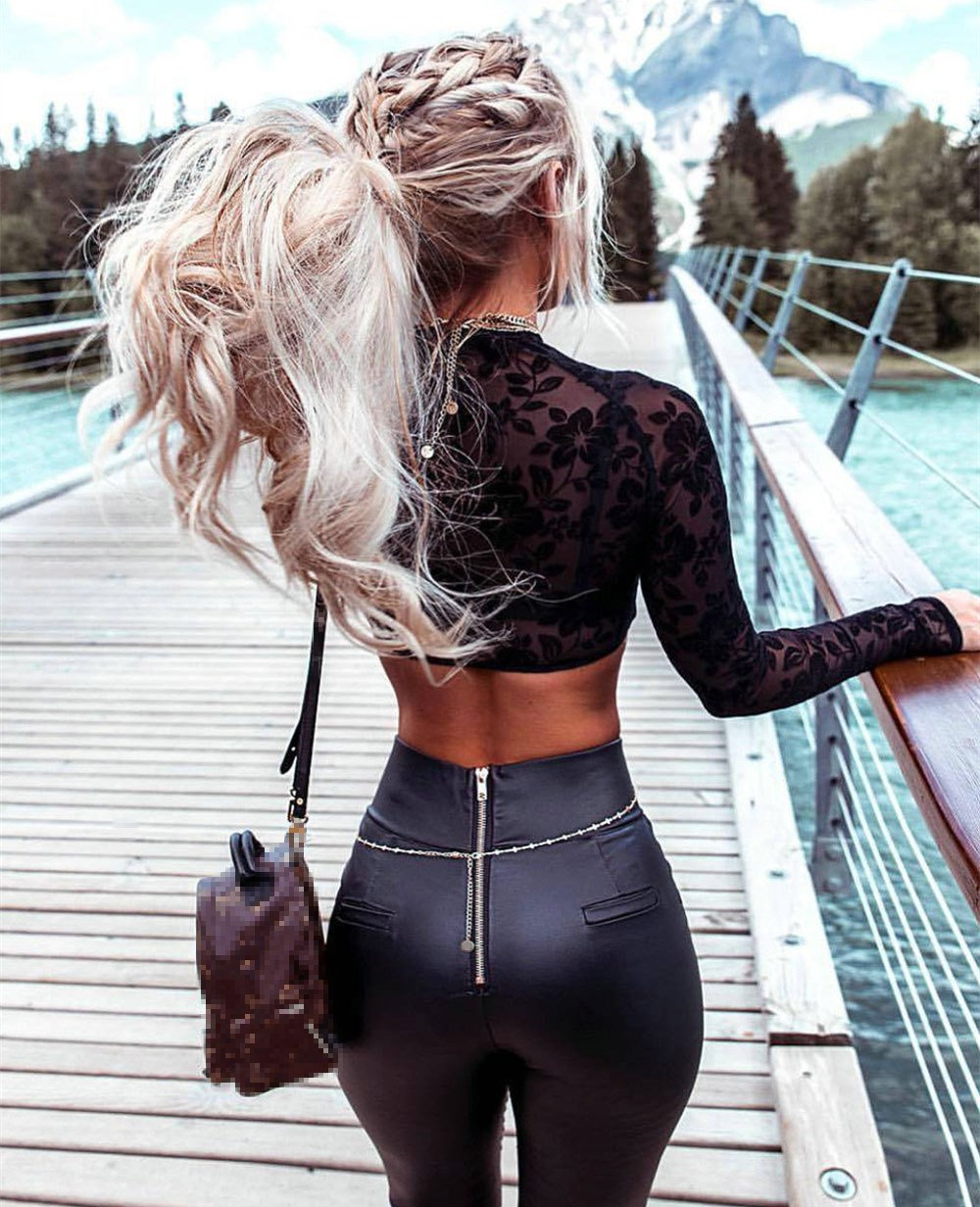 2018 Autumn New Black PU Leather Pants Sexy Back Zipper Skinny Pants Women Party High Waist Tights Trousers