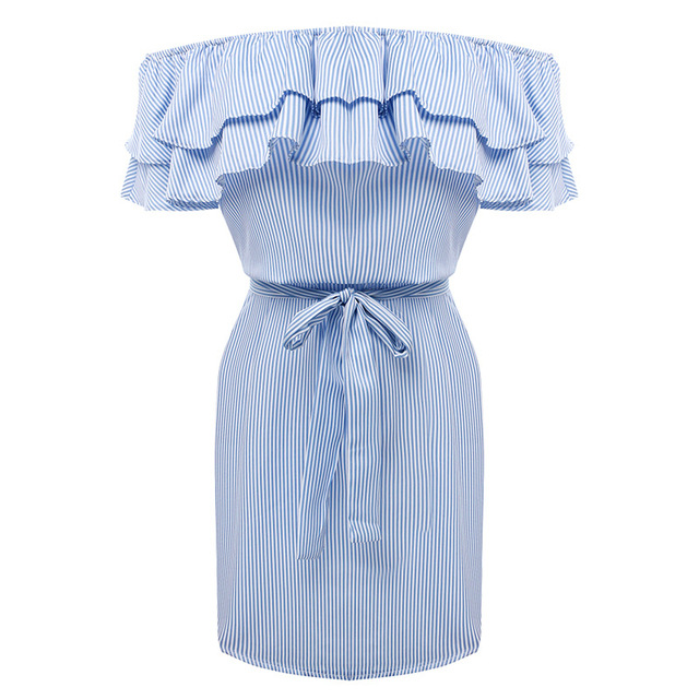 Susi&Rita Women Summer Dress 2017 Ruffles Off Shoulder Dress Striped Sexy Bodycon With Belt Short Beach Dresses Robe Vestdios