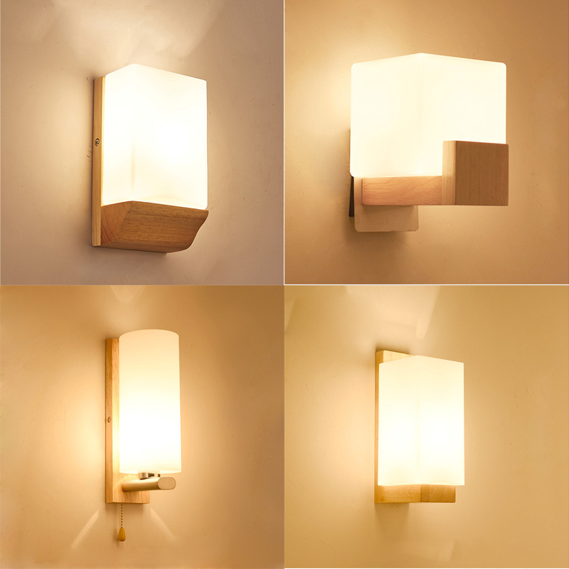 Modern solid wooden Wall Lamp Lights For Bedroom Home ...