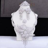 GODKI Роскошный цветок ленточки в африканском стиле цепочки и ожерелья серьги ювелирный набор для женщин Свадебные Циркон CZ Дубай сереб