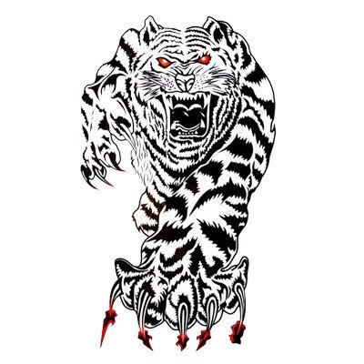 white tiger tattoo designs 8.5 x 18.5 cm Temporary tattoos