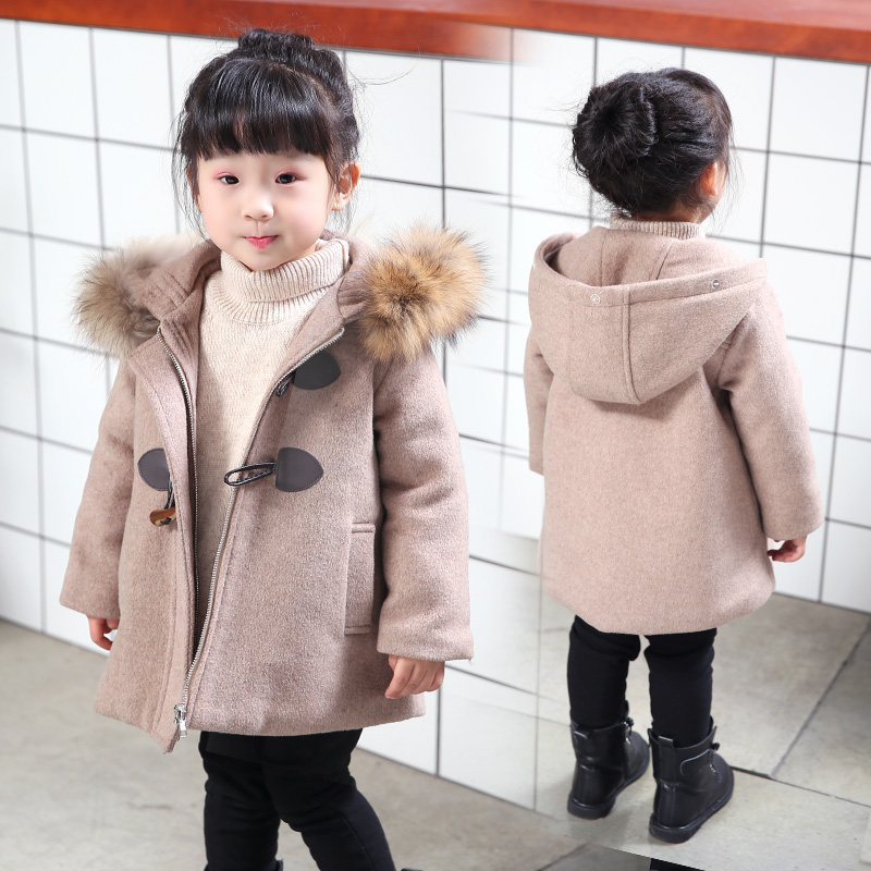 Wool coat for girls fashion thickening temperament elegant girl woolen coat 2018 new spring and autumn children's woolen coat one button design longline woolen coat page 2