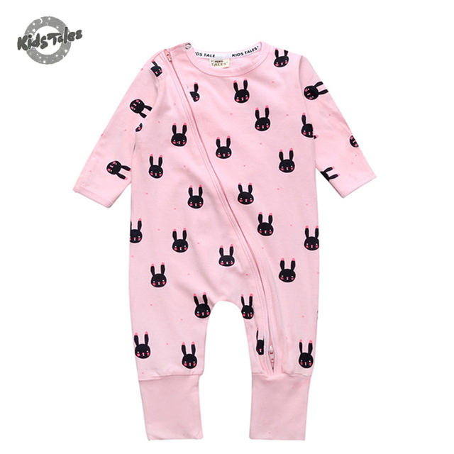 a20a3f05dff6 Kids Tales Baby Rompers Baby Clothing Spring Soft Cotton Baby Boy Girl long  Sleeve rabbit Printed Baby Romper Newborn Clothing