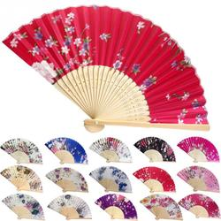 Summer Vintage Bamboo Folding Hand Held Flower Fan Chinese Dance Party Pocket Gifts Wedding Colorful