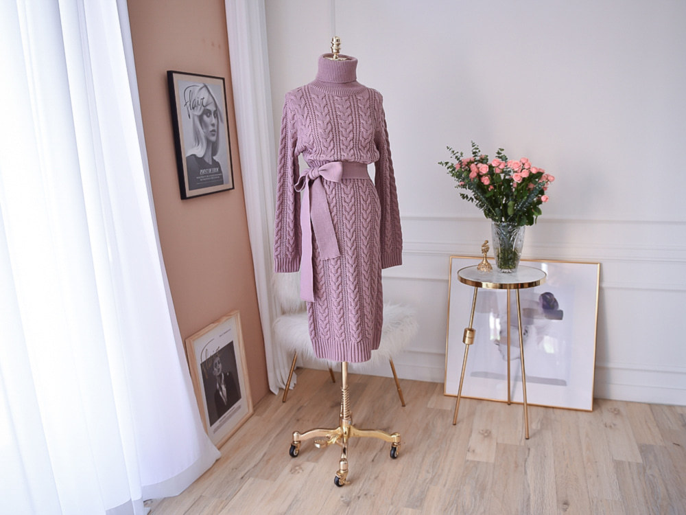 19 Winter Temperament Bursting Elegant Lace Waist Twist High Collar Knit Bottoming Sweater Dress dropshipping 11