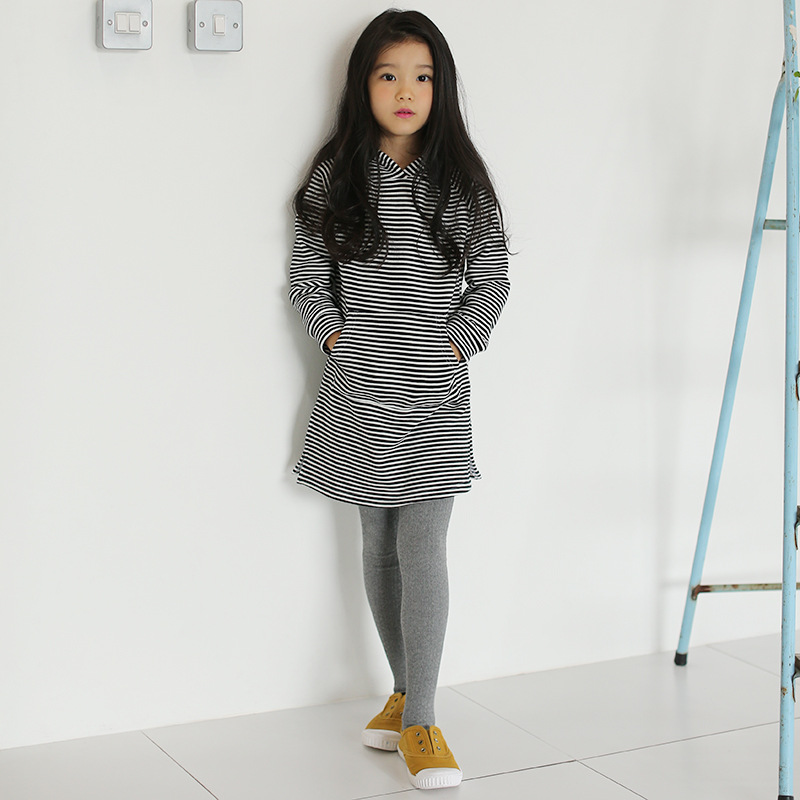 Striped plus velvet dress girls autumn clothing child hooded striped dresses 9-10 years girl toddler baby tops