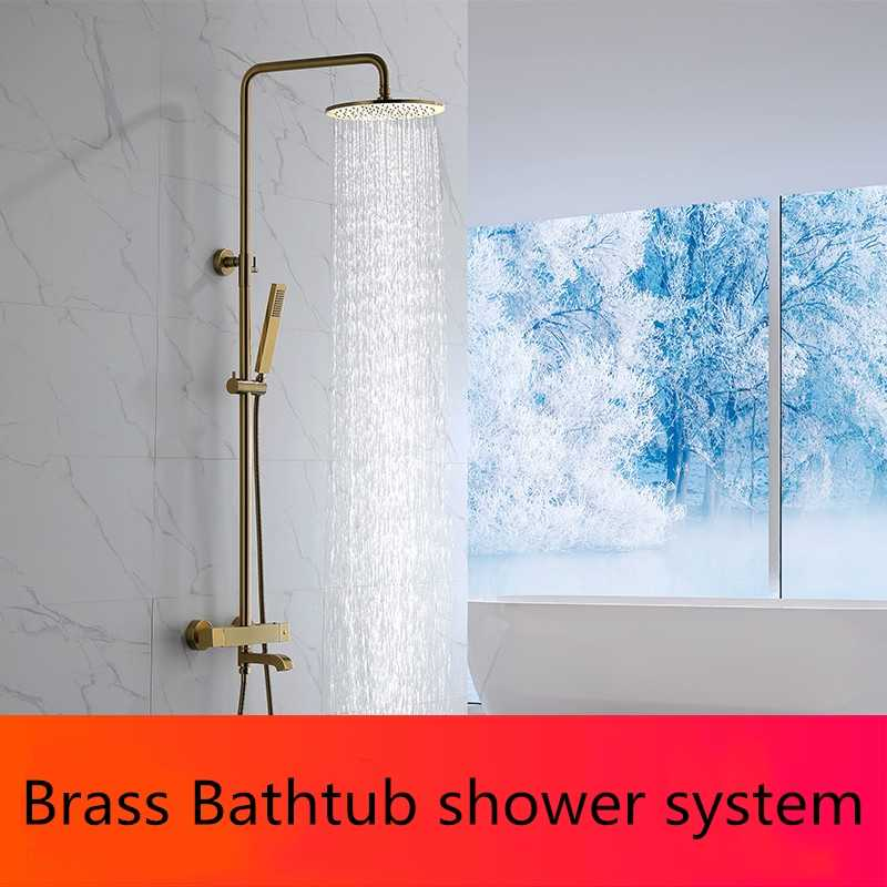 Brass Intelligent Thermostatic Shower Set Bathtub Mixer Nozzle Thermostatic Mixing Valve Shower System Freestanding Bath Faucets