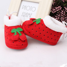 Christmas pink printing Lovely Warm Baby Shoes Soft Bottom Non-slip Bow Toddler shoes First walkers Newborn Baby girl Footwear