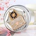 Gravar palavras, bling cristal sexy bolsa flor, Mini Beleza espelho de maquiagem bolso espelho compacto espelho de maquiagem, festa de casamento presentes presentes