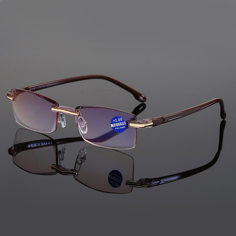 Ahora Anti Blue Light Blocking Rimless Reading Glasses Women Men Square Frameless Presbyopic Glasses Diopters +1.0 1.5 2 2.5 4.0 4