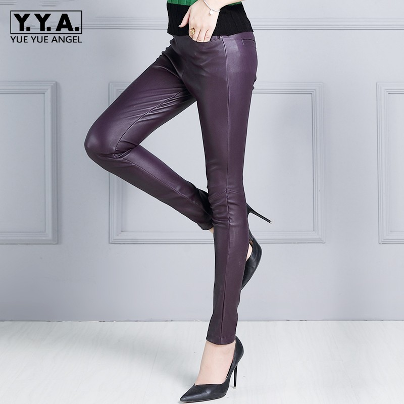 Women Sexy Strechy Slim Fit Luxury Sheepksin Genuine Leather Pencil Pants Elastic Waist Natural Leather Trousers OL Skinny Pants