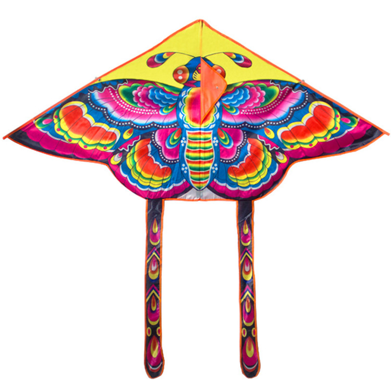 9055cm-Nylon-Rainbow-Butterfly-Kite-Outdoor-Foldable-Childrens-Kite-Stunt-Kite-Surf-with-60M-Control-Bar-and-Line-Random-Color-3