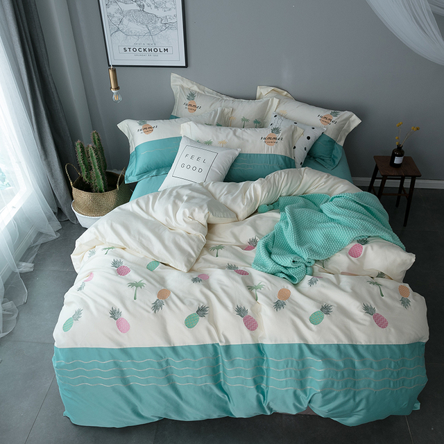 Pineapple Embroidery Cute Modern Bedding Set King Queen Bed Cover Set For  Girls Egyptian Cotton Bedsheets