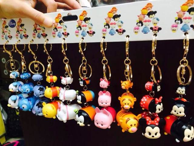 2 Styles 10pcs/lot Tsum Tsum mini pendants Anime Minnie Mickey Winnie Daisy Tigger keychains jenga 3 size dolls free shipping