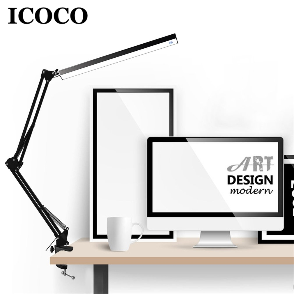 ICOCO Aluminum Alloy Folding Clip-on USB LED Table Lamp Long Arm Touch Control Dimmable Desk Lamp Eye Protection Table Light usb led desk lamp rechargeable table lamp touch switch dimmable table light eye protection for children table light adjustable