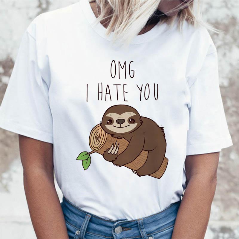 Sloth T Shirt Harajuku Tees Tshirt Female Graphic Women T-shirt Funny For Korean Top Ulzzang Clothing