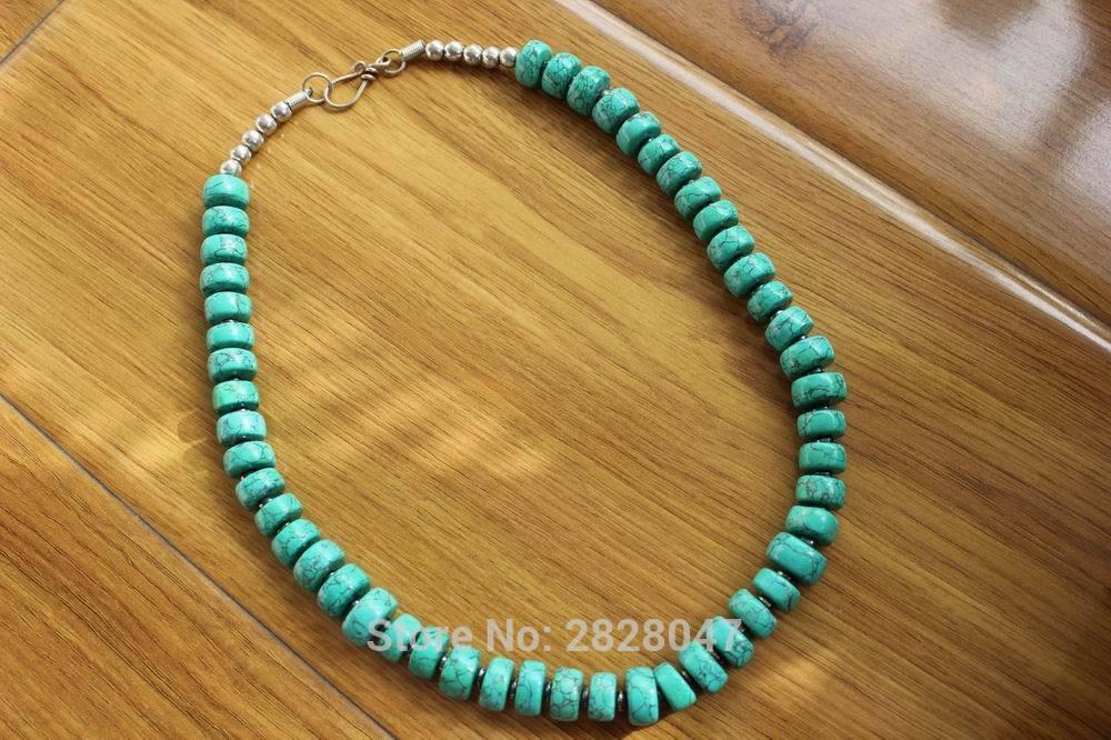 NK182 женское ожерелье, из тибетского серебра, зеленого камня, с бусинами, ручная работа, Непальские сплюснутые бусины, 13 мм * 7 мм