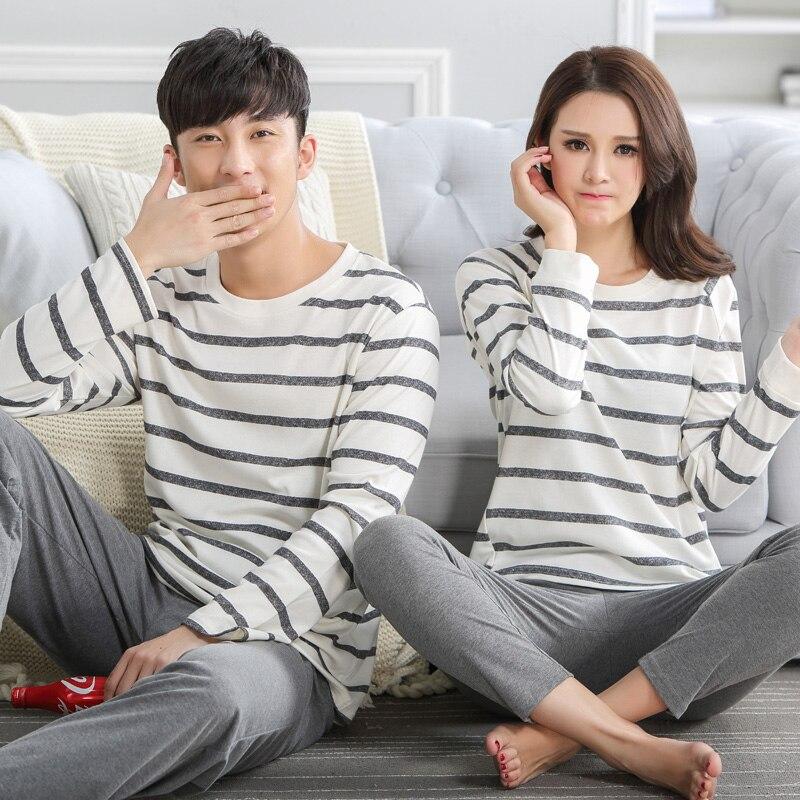 642239a908 100% Cotton ! Stripe Couple Autumn Sleep Lounge Pant+Tops 2 Piece Pijamas Couples  Womens Men Pyjama Sets Lovers Sleep Wear J0004