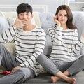 100% cotton ! Stripe Couple Autumn Sleep Lounge Pant+Tops 2 Piece Pijamas Couples Womens Men Pyjama Sets Lovers Sleep Wear J0004