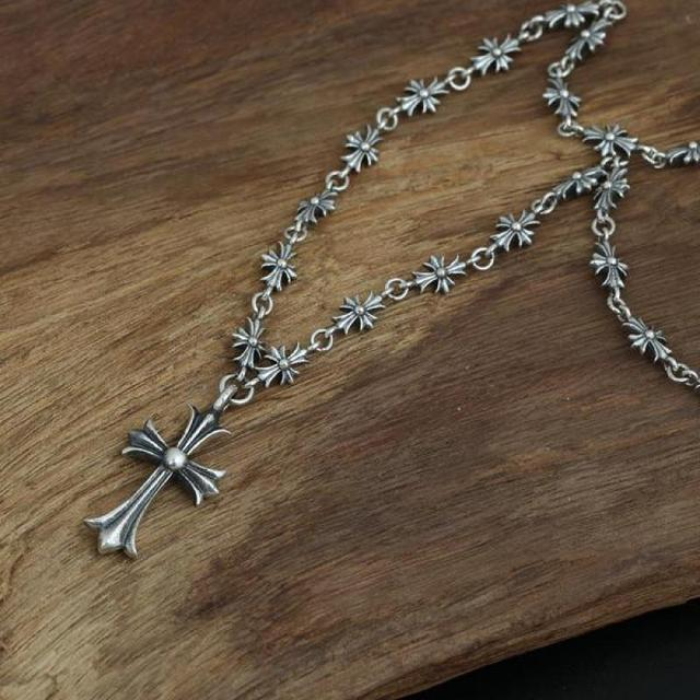Real Pure 925 Sterling Silver Cross Necklace Women And Men With Pendant Vintage Sweater Chain Fine Jewelry 2016