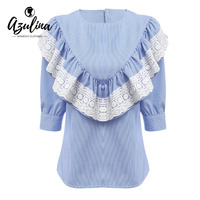 AZULINA Casual Blue Striped Lace Ruffle Blouse Shirt Women Three Quarter Sleeve Round Collar Blouse Blusas
